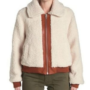 Faux Leather Trim Faux Shearling Jacket